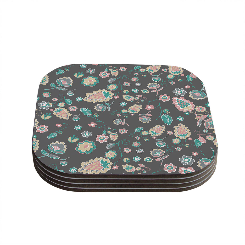 "Nika Martinez ""Cute Winter Floral"" Gray Pastel Coasters (Set of 4)"