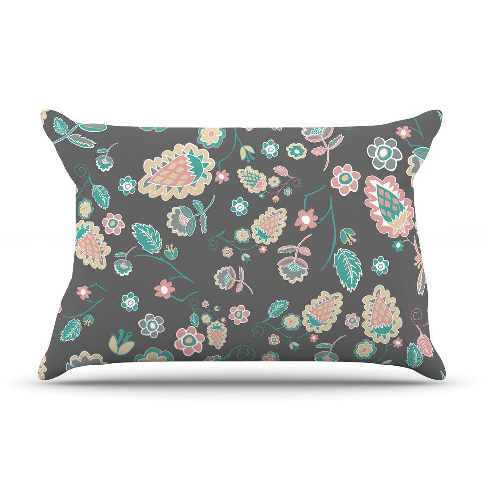 "Nika Martinez ""Cute Winter Floral"" Gray Pastel Pillow Sham - KESS InHouse"