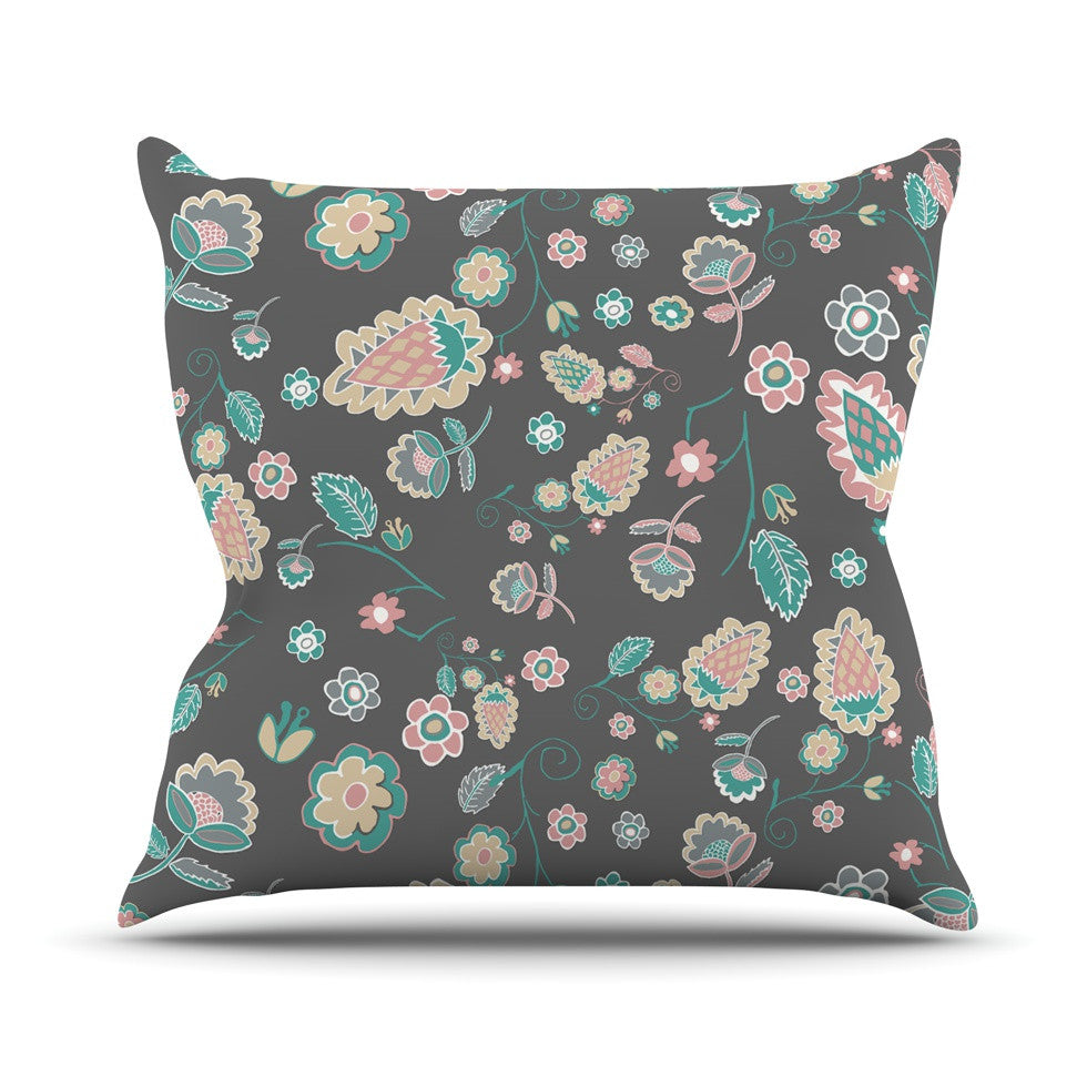 "Nika Martinez ""Cute Winter Floral"" Gray Pastel Outdoor Throw Pillow - KESS InHouse  - 1"