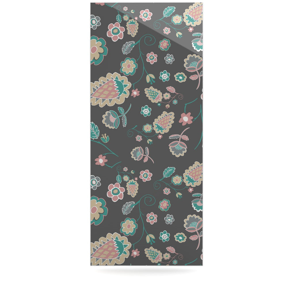 "Nika Martinez ""Cute Winter Floral"" Gray Pastel Luxe Rectangle Panel - KESS InHouse  - 1"