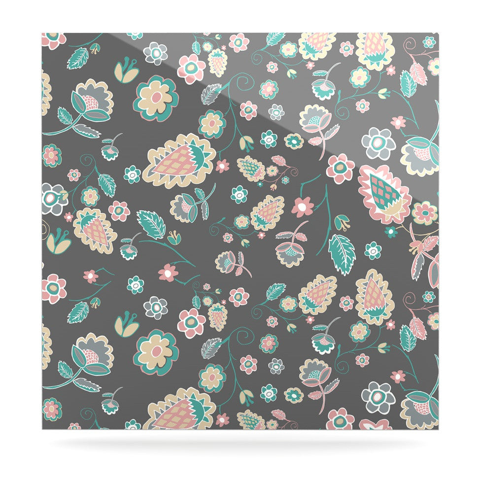 "Nika Martinez ""Cute Winter Floral"" Gray Pastel Luxe Square Panel - KESS InHouse  - 1"