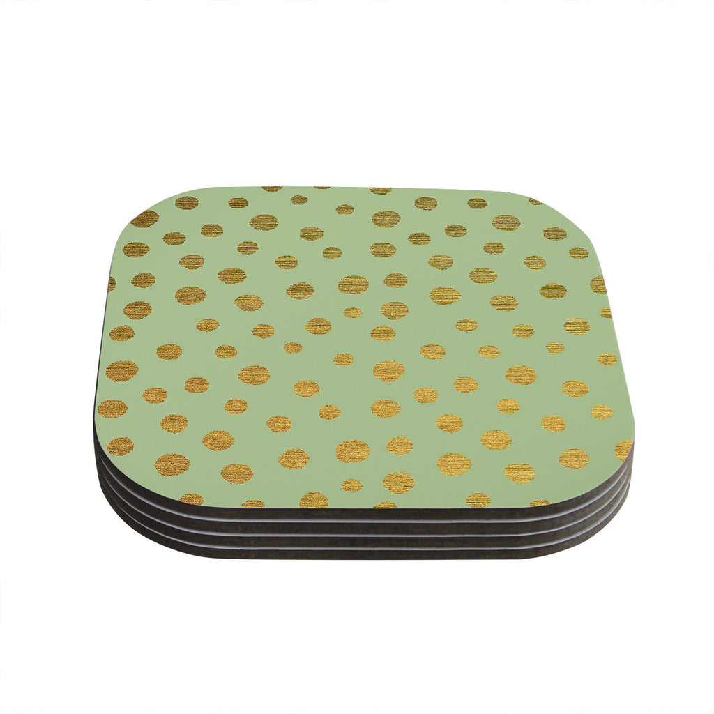 "Nika Martinez ""Golden Dots and Mint"" Green Gold Coasters (Set of 4)"