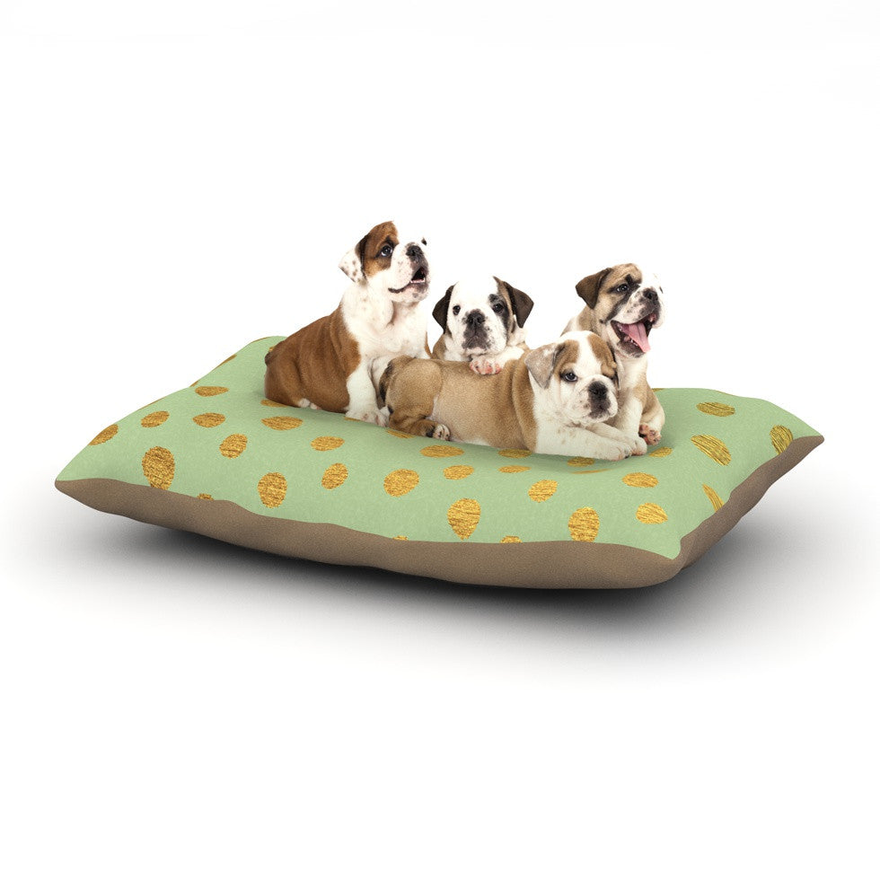 "Nika Martinez ""Golden Dots and Mint"" Green Gold Dog Bed - KESS InHouse  - 1"