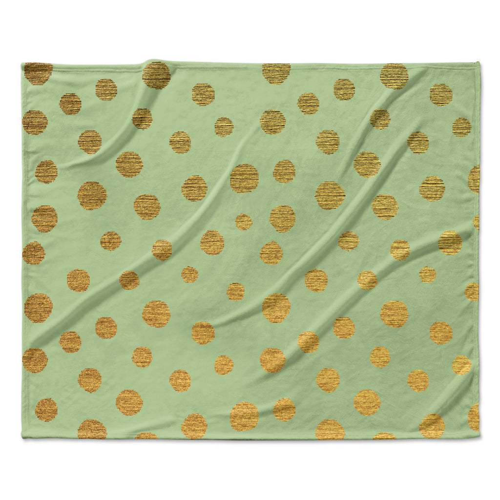 "Nika Martinez ""Golden Dots and Mint"" Green Gold Fleece Throw Blanket"