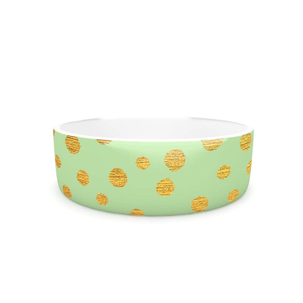 "Nika Martinez ""Golden Dots and Mint"" Green Gold Pet Bowl - KESS InHouse"