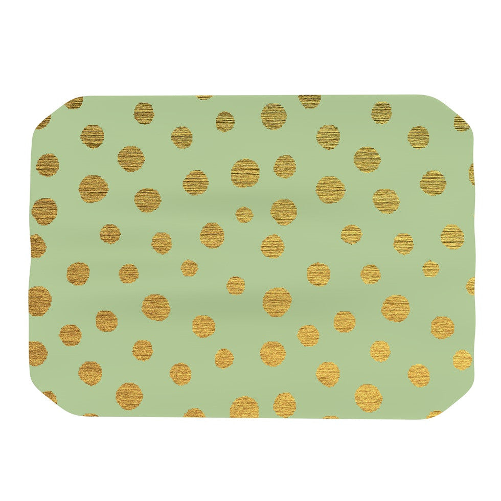 "Nika Martinez ""Golden Dots and Mint"" Green Gold Place Mat - KESS InHouse"