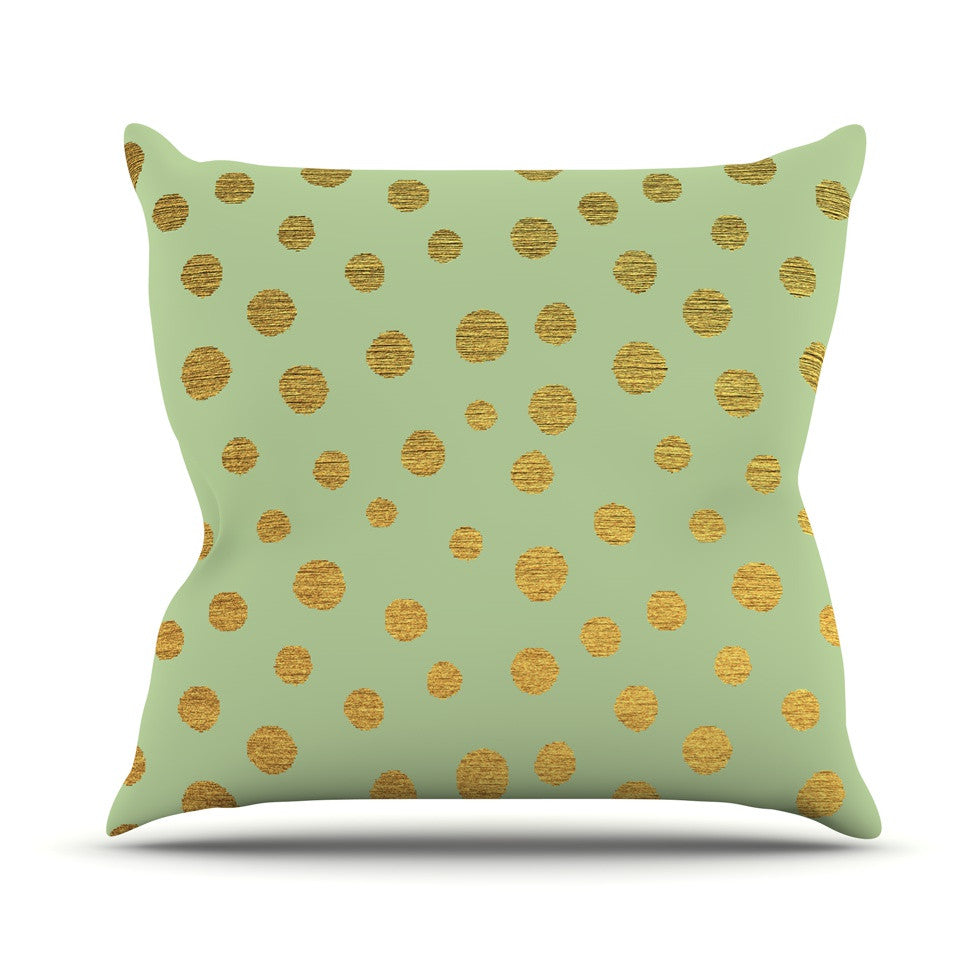 "Nika Martinez ""Golden Dots and Mint"" Green Gold Outdoor Throw Pillow - KESS InHouse  - 1"