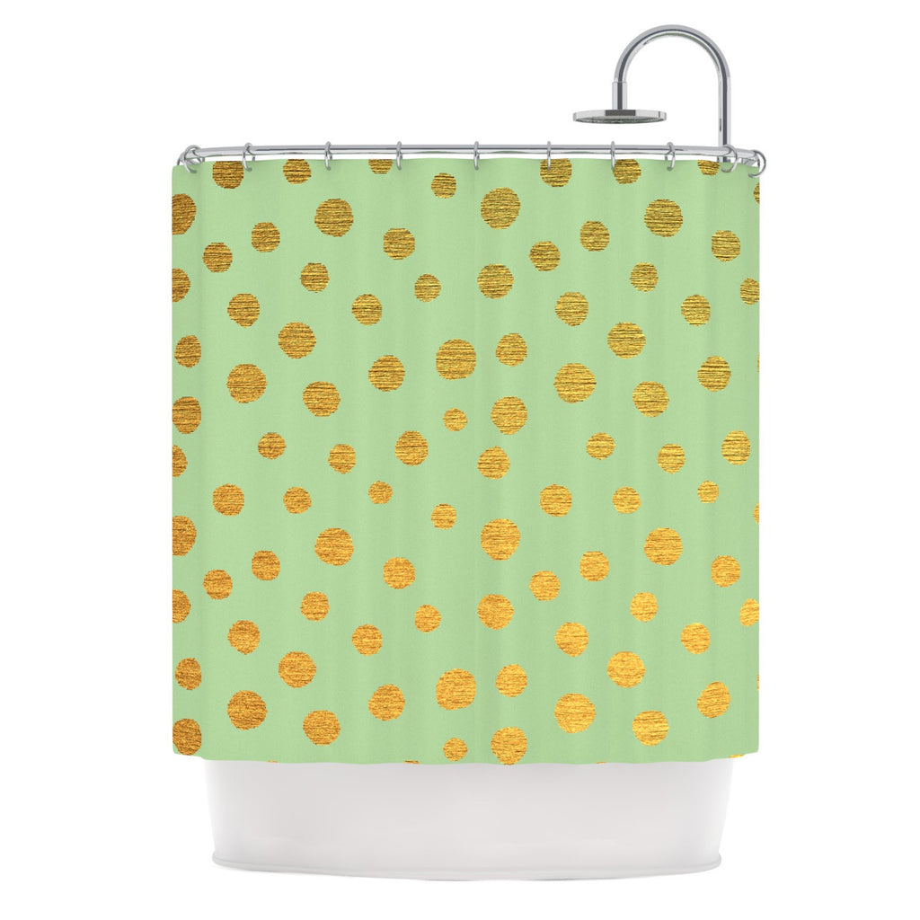"Nika Martinez ""Golden Dots and Mint"" Green Gold Shower Curtain - KESS InHouse"