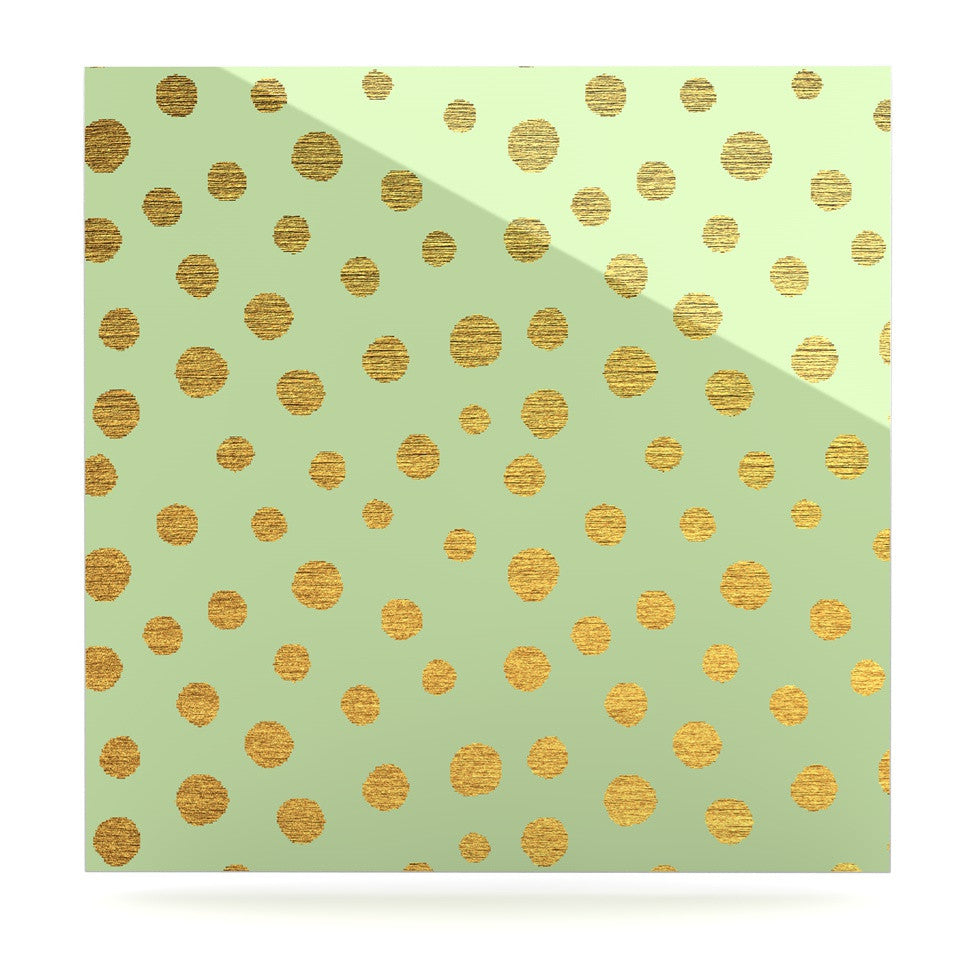 "Nika Martinez ""Golden Dots and Mint"" Green Gold Luxe Square Panel - KESS InHouse  - 1"