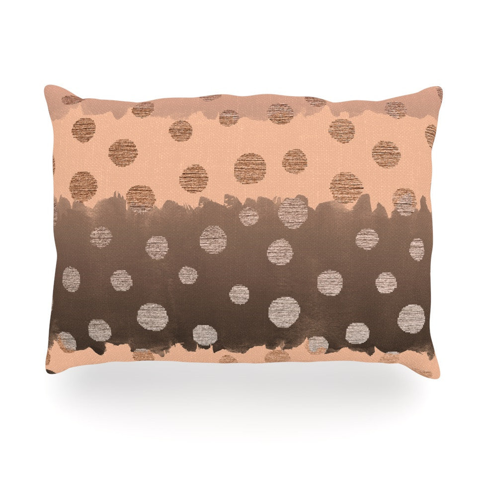 "Nika Martinez ""Earth Dots"" Brown Oblong Pillow - KESS InHouse"