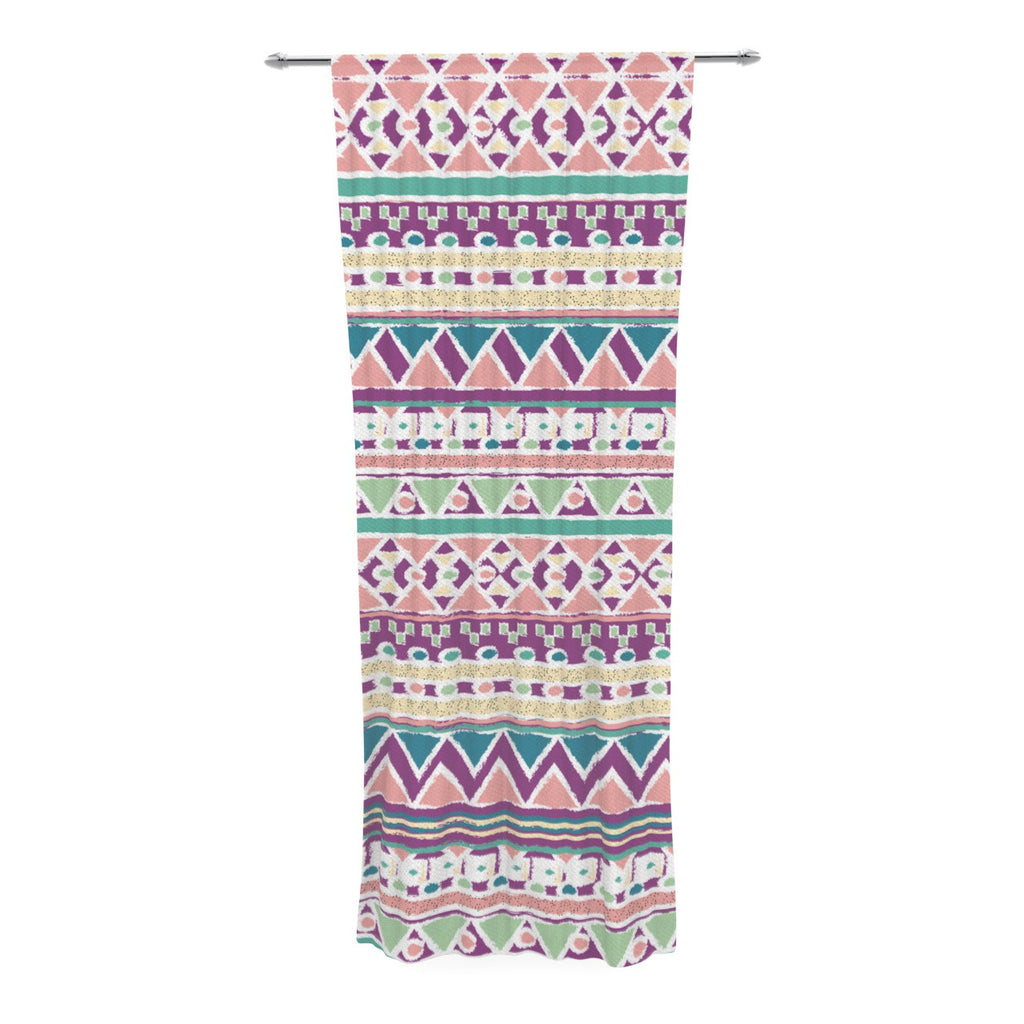 "Nika Martinez ""Boho Ibiza"" Pastel Pink Decorative Sheer Curtain - KESS InHouse  - 1"