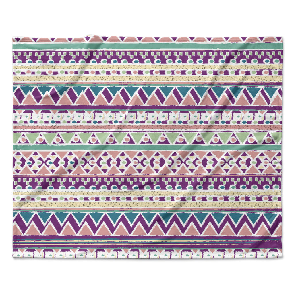 "Nika Martinez ""Boho Ibiza"" Pastel Pink Fleece Throw Blanket"