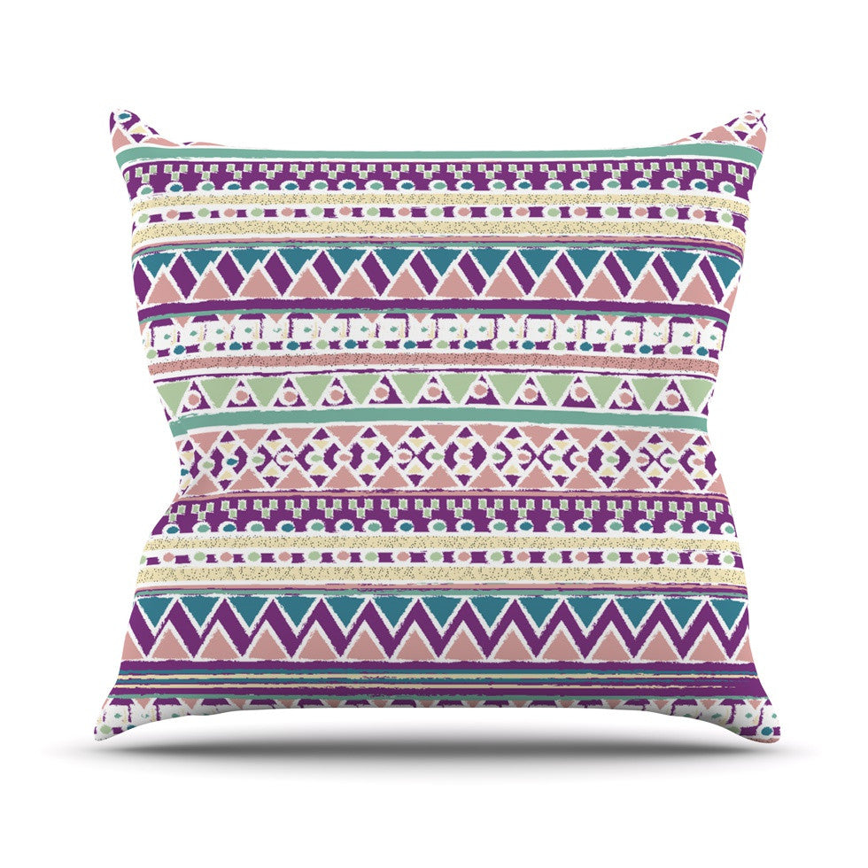 "Nika Martinez ""Boho Ibiza"" Pastel Pink Outdoor Throw Pillow - KESS InHouse  - 1"