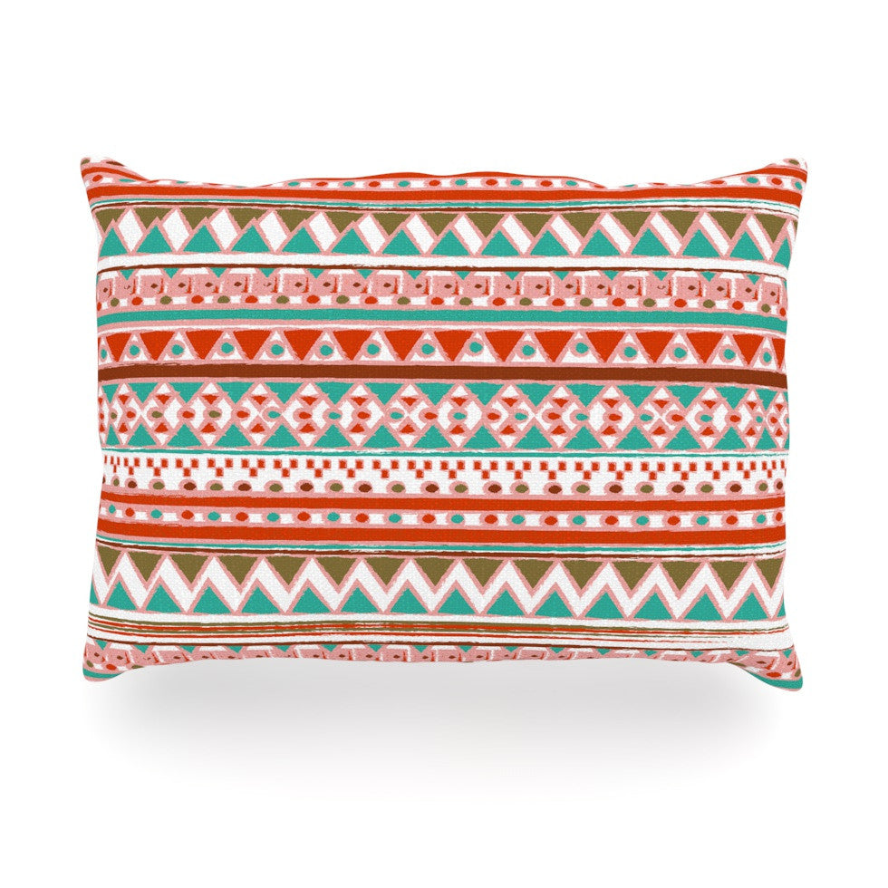 "Nika Martinez ""Boho Mallorca"" Red Multicolor Oblong Pillow - KESS InHouse"