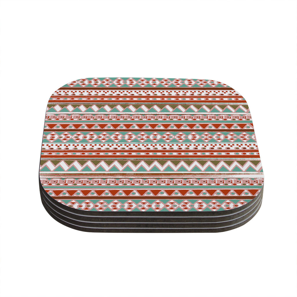 "Nika Martinez ""Boho Mallorca"" Red Multicolor Coasters (Set of 4)"