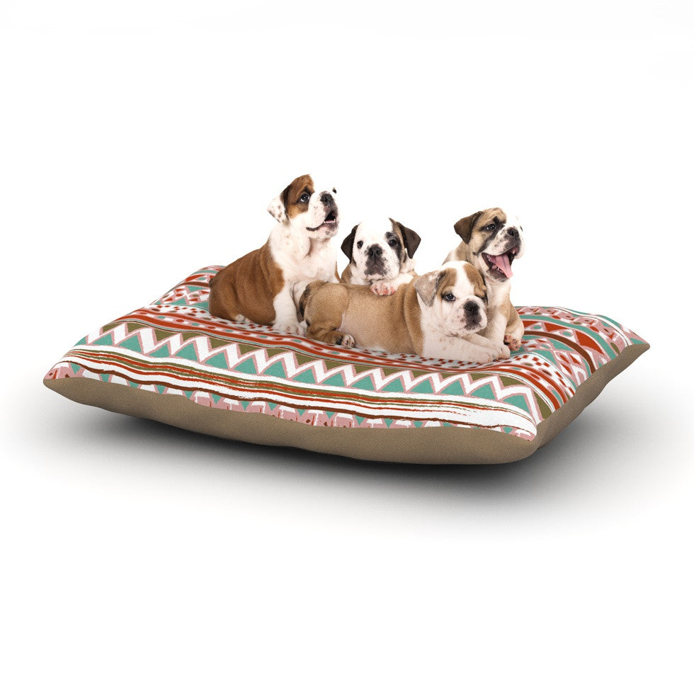 "Nika Martinez ""Boho Mallorca"" Red Multicolor Dog Bed - KESS InHouse  - 1"