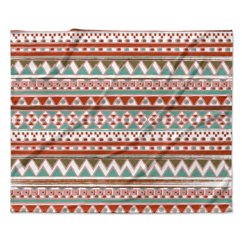 "Nika Martinez ""Boho Mallorca"" Red Multicolor Fleece Throw Blanket"