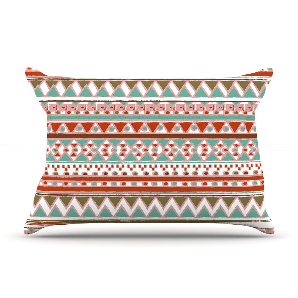 "Nika Martinez ""Boho Mallorca"" Red Multicolor Pillow Sham - KESS InHouse"