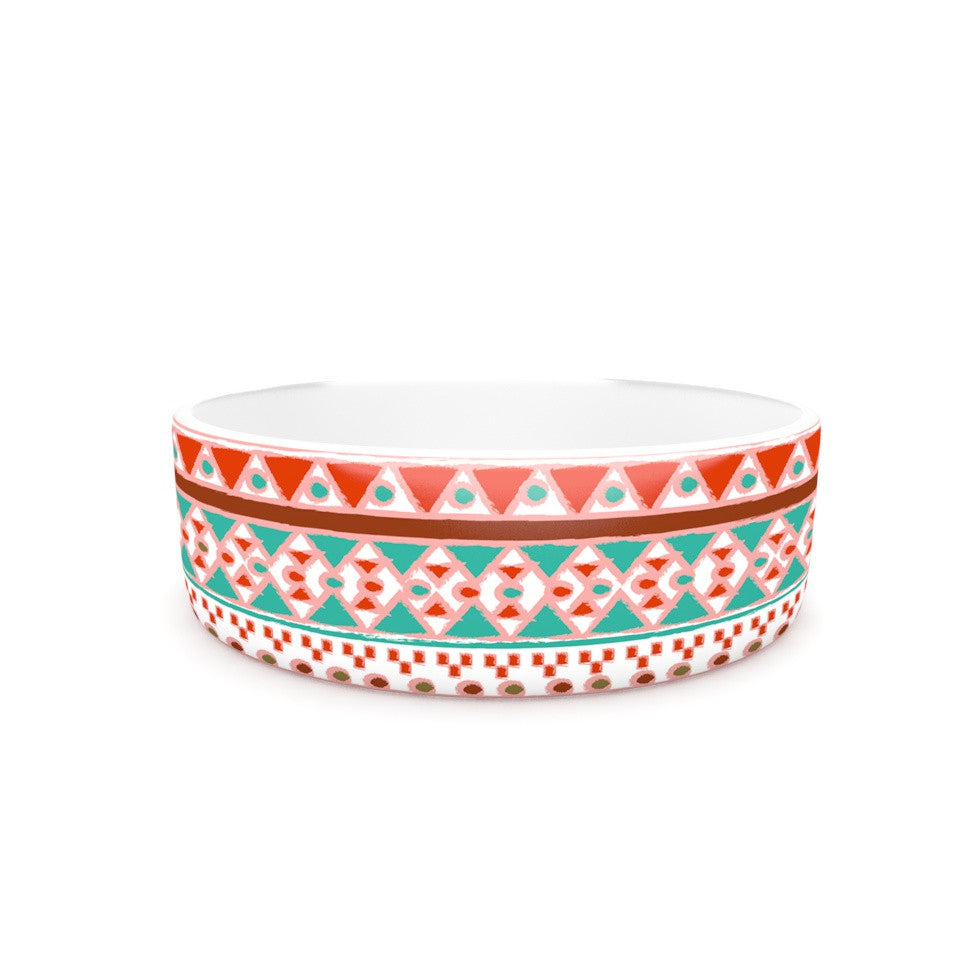 "Nika Martinez ""Boho Mallorca"" Red Multicolor Pet Bowl - KESS InHouse"
