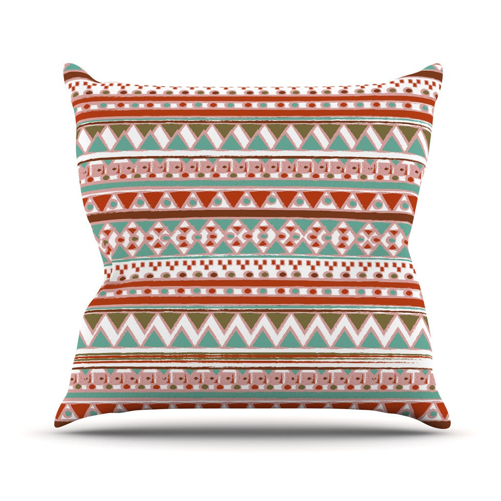 "Nika Martinez ""Boho Mallorca"" Red Multicolor Outdoor Throw Pillow - KESS InHouse  - 1"