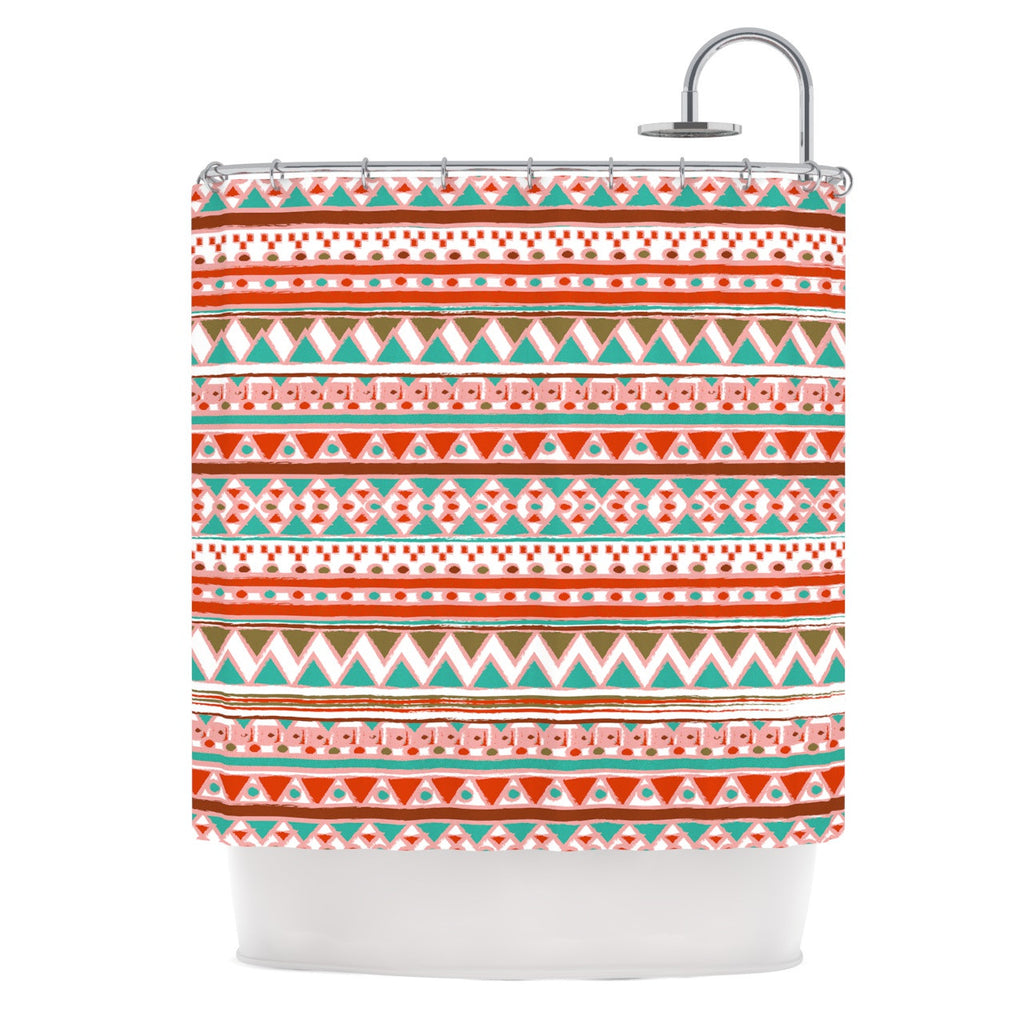 "Nika Martinez ""Boho Mallorca"" Red Multicolor Shower Curtain - KESS InHouse"