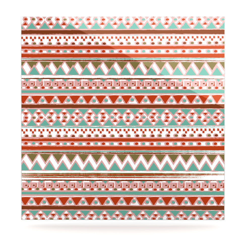 "Nika Martinez ""Boho Mallorca"" Red Multicolor Luxe Square Panel - KESS InHouse  - 1"