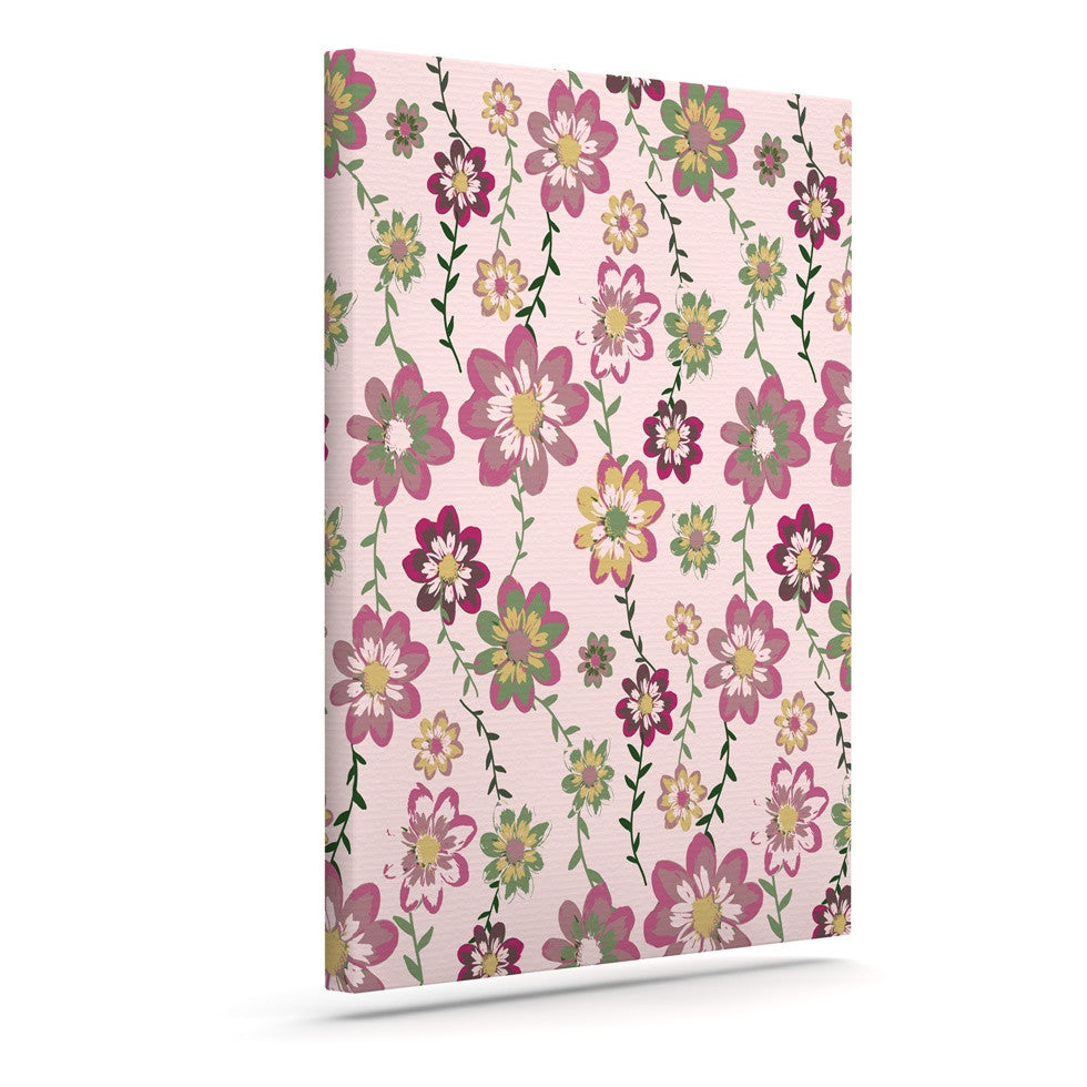 "Nika Martinez ""Romantic Flowers in Pink"" Blush Floral Canvas Art - KESS InHouse  - 1"