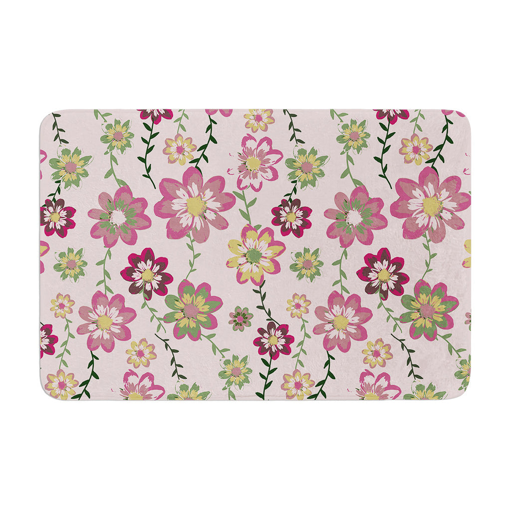 "Nika Martinez ""Romantic Flowers in Pink"" Blush Floral Memory Foam Bath Mat - KESS InHouse"