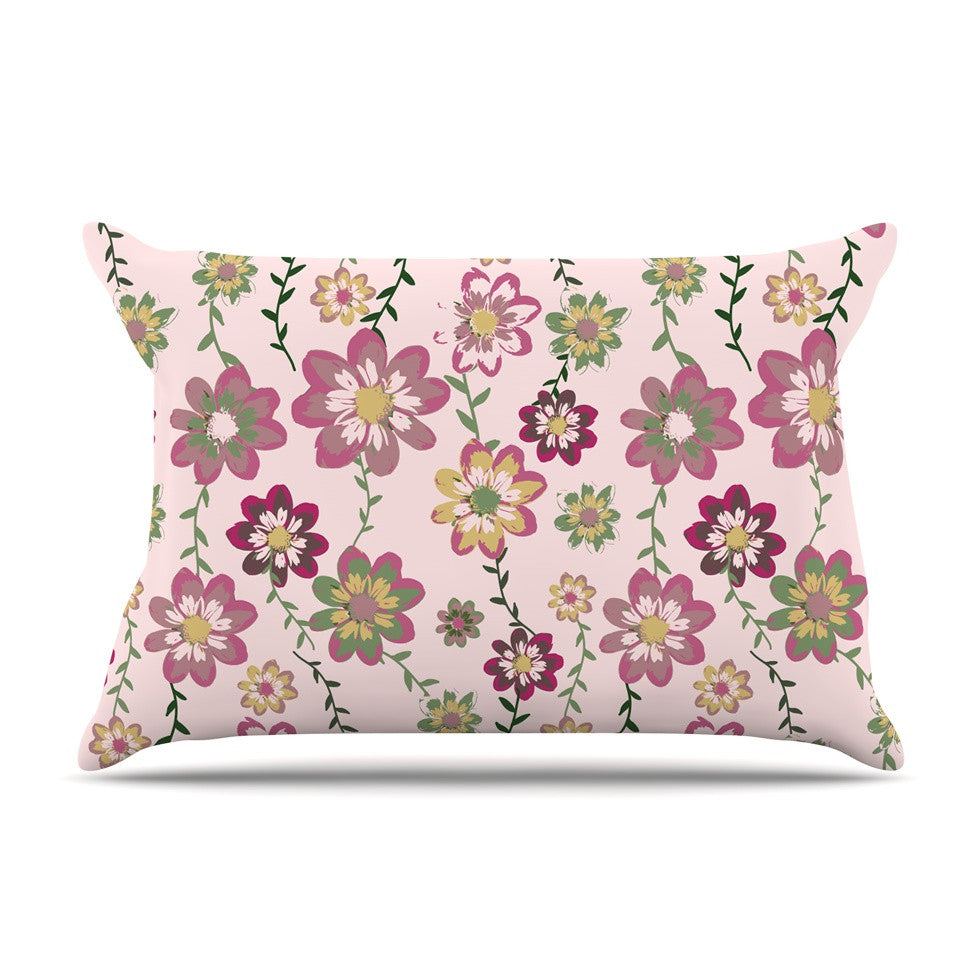 "Nika Martinez ""Romantic Flowers in Pink"" Blush Floral Pillow Sham - KESS InHouse"