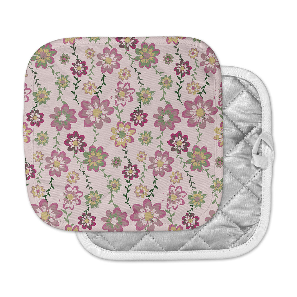 "Nika Martinez ""Romantic Flowers in Pink"" Blush Floral Pot Holder"