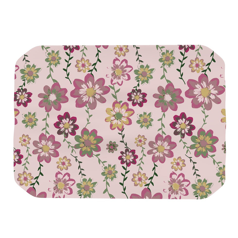 "Nika Martinez ""Romantic Flowers in Pink"" Blush Floral Place Mat - KESS InHouse"
