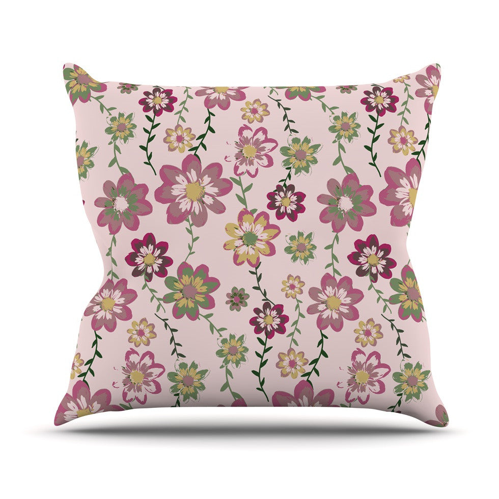"Nika Martinez ""Romantic Flowers in Pink"" Blush Floral Outdoor Throw Pillow - KESS InHouse  - 1"