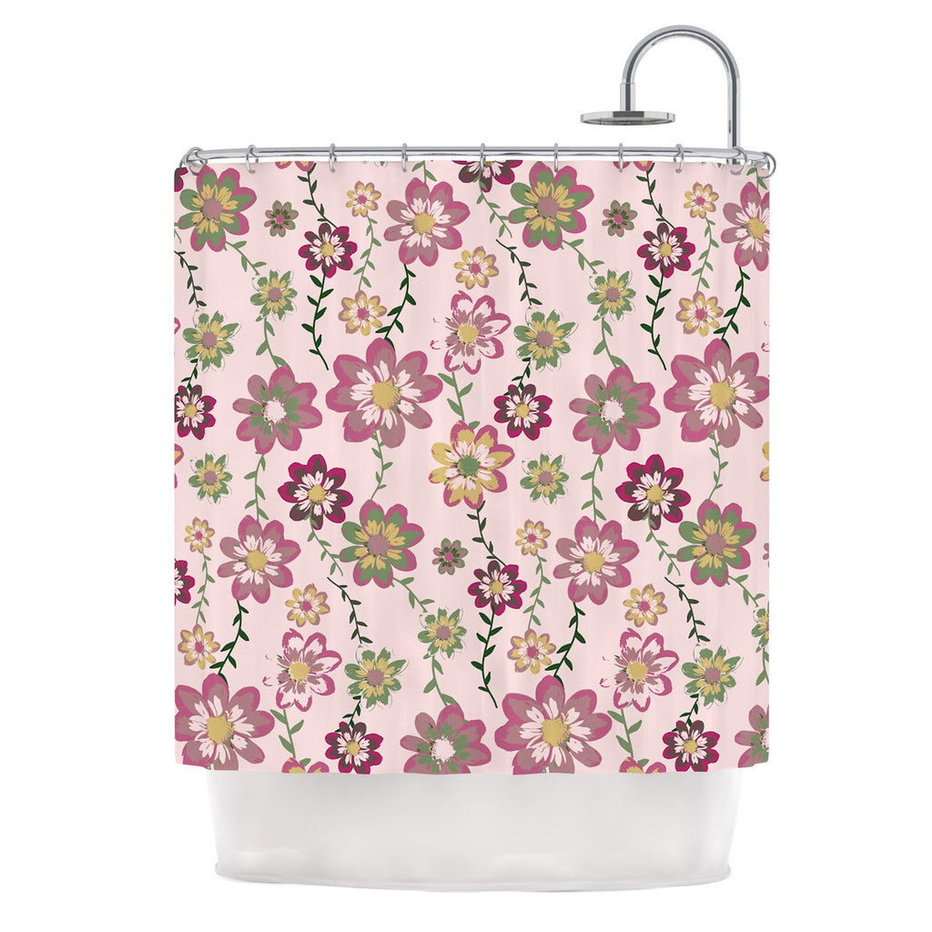 "Nika Martinez ""Romantic Flowers in Pink"" Blush Floral Shower Curtain - KESS InHouse"