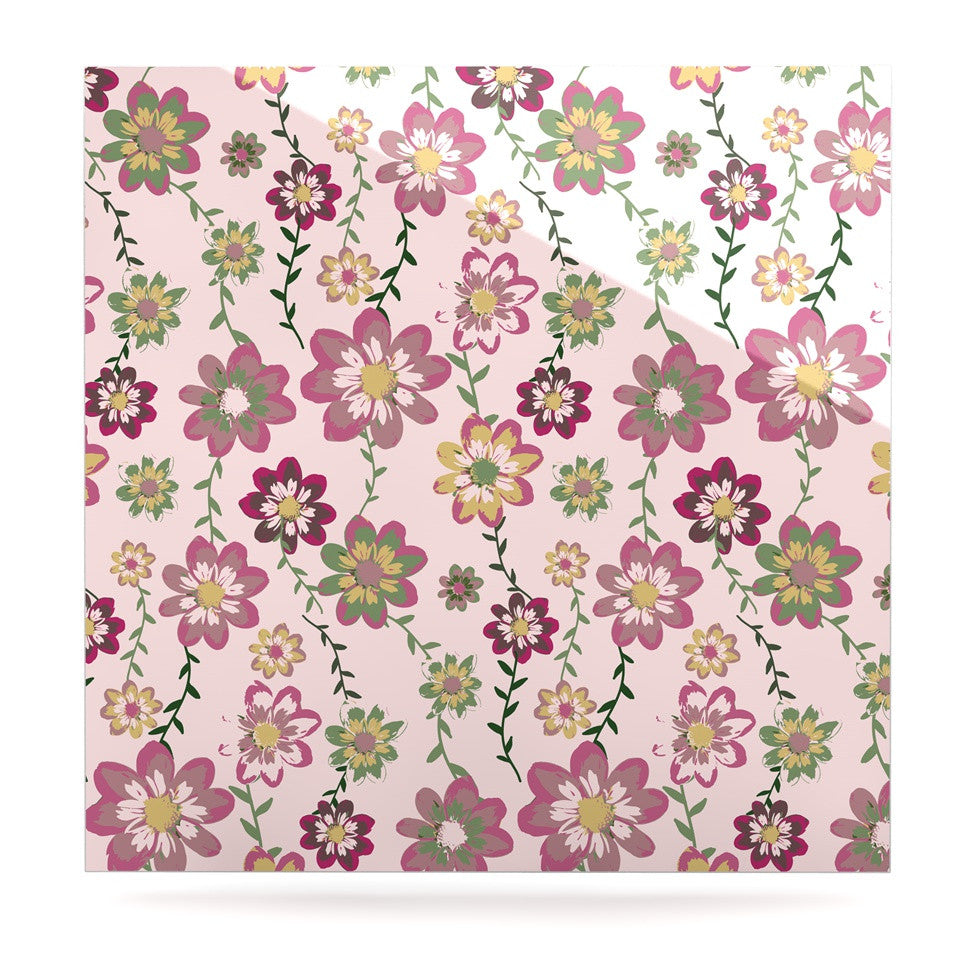 "Nika Martinez ""Romantic Flowers in Pink"" Blush Floral Luxe Square Panel - KESS InHouse  - 1"