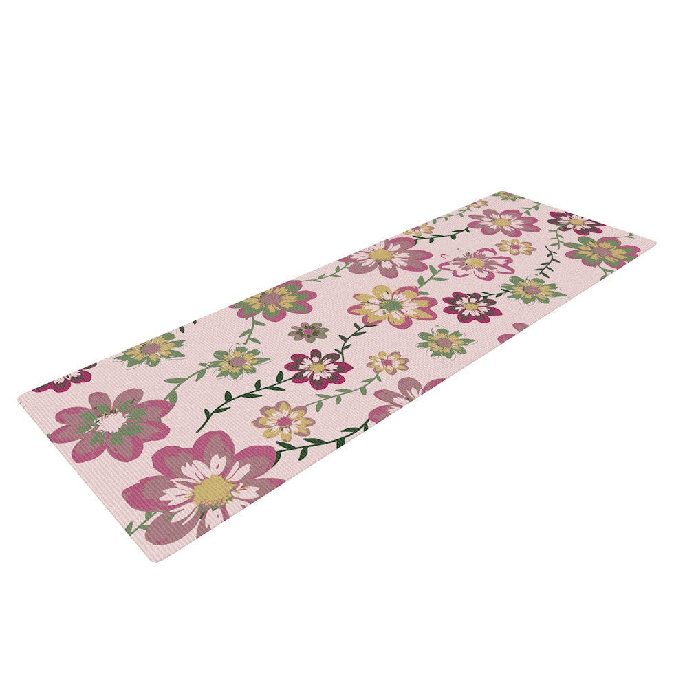 "Nika Martinez ""Romantic Flowers in Pink"" Blush Floral Yoga Mat - KESS InHouse  - 1"