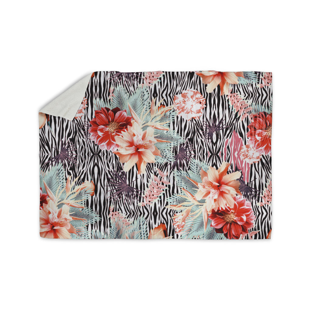 "Nika Martinez ""Tropical Fusion"" Red Floral Sherpa Blanket - KESS InHouse  - 1"