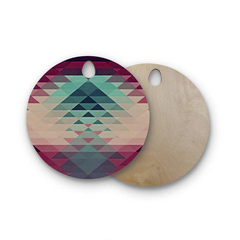 "Nika Martinez ""Hipster"" Maroon Teal Round Wooden Cutting Board"