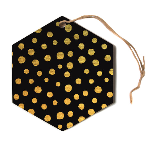 "Nika Martinez ""GOLDEN DOTS IN BLACK"" Yellow Hexagon Holiday Ornament"