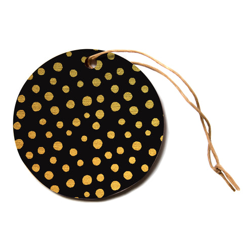 "Nika Martinez ""GOLDEN DOTS IN BLACK"" Yellow Circle Holiday Ornament"