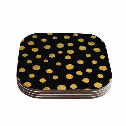 "Nika Martinez ""Golden Dots in Black"" Yellow Coasters (Set of 4)"