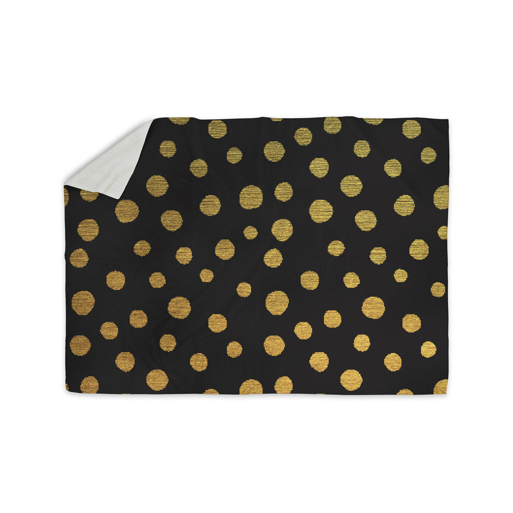 "Nika Martinez ""Golden Dots in Black"" Yellow Sherpa Blanket - KESS InHouse  - 1"