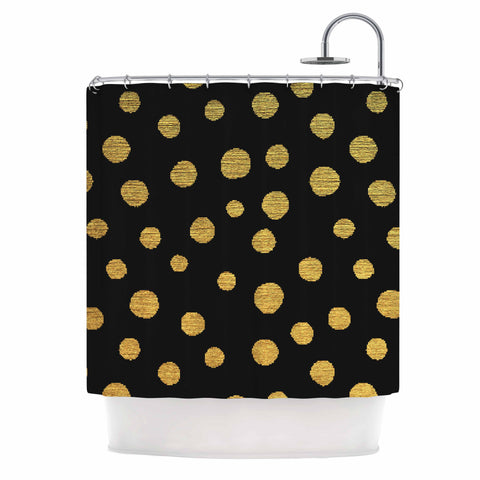 "Nika Martinez ""Golden Dots in Black"" Yellow Shower Curtain - Outlet Item - KESS InHouse"