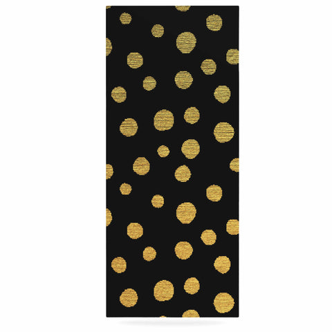 "Nika Martinez ""Golden Dots in Black"" Yellow Luxe Rectangle Panel - KESS InHouse  - 1"