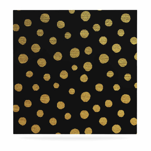 "Nika Martinez ""Golden Dots in Black"" Yellow Luxe Square Panel - KESS InHouse  - 1"