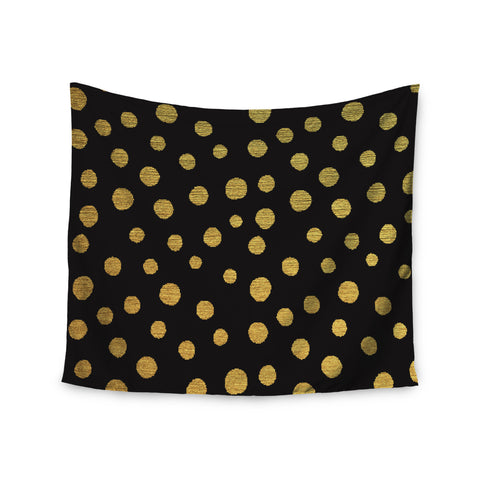 "Nika Martinez ""Golden Dots in Black"" Yellow Wall Tapestry - KESS InHouse  - 1"
