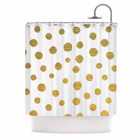 "Nika Martinez ""Golden Dots"" White Yellow Shower Curtain - Outlet Item - KESS InHouse"