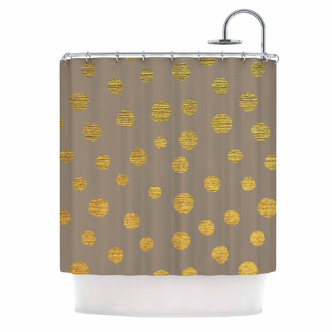 "Nika Martinez ""Earth Golden Dots"" Brown Yellow Shower Curtain - Outlet Item - KESS InHouse"