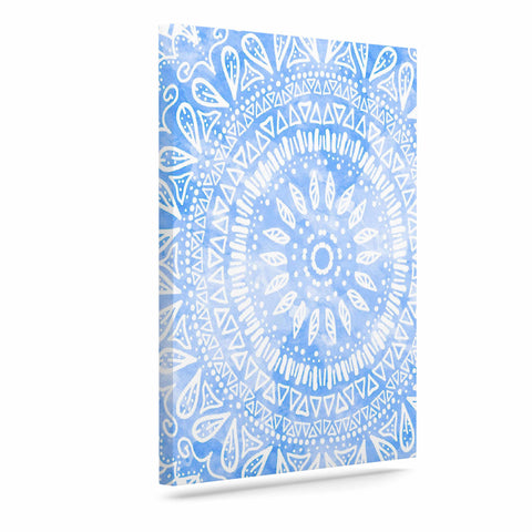 "Nika Martinez ""Boho Flower Mandala in Blue"" Aqua Canvas Art - KESS InHouse  - 1"