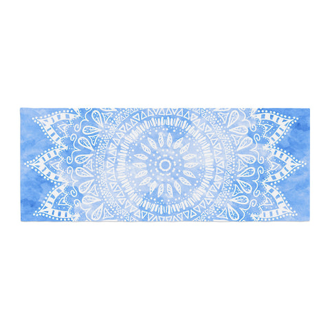 "Nika Martinez ""Boho Flower Mandala in Blue"" Aqua Bed Runner - KESS InHouse"