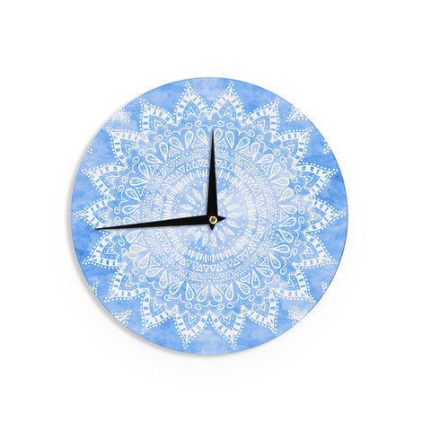 "Nika Martinez ""Boho Flower Mandala in Blue"" Aqua Wall Clock - KESS InHouse"